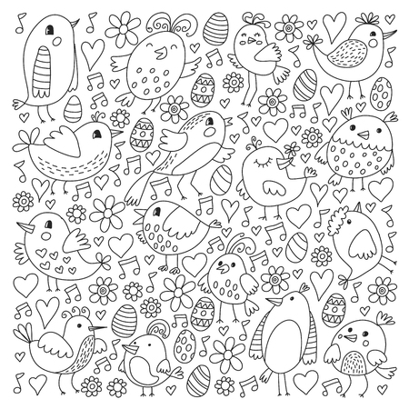 Pattern kids fabric, textile, nursery wallpaper. Vector illustration. Hand drawn singing birds and flowers for little children