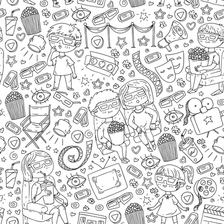 Vector pattern with cinema icons of movie theater, TV, popcorn, video clip Banque d'images - 123028791