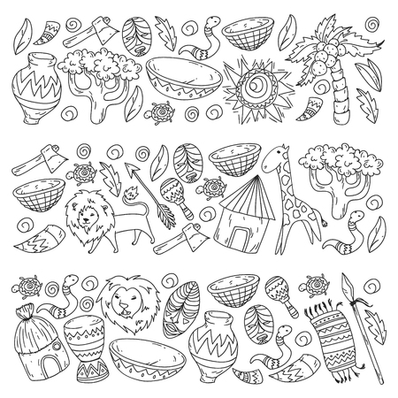 Vector pattern kids fabric, textile, nursery wallpaper. African pattern with tribal elements and animals for little children Illusztráció