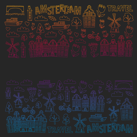 Vector pattern with Holland, Netherlands, Amsterdam icons. Doodle style 일러스트
