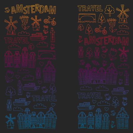 Vector pattern with Holland, Netherlands, Amsterdam icons. Doodle style 版權商用圖片 - 123028799