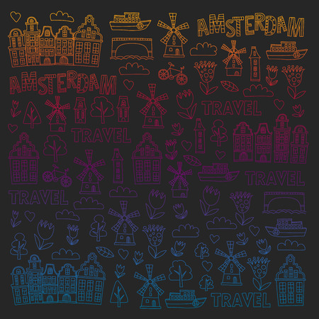 Vector pattern with Holland, Netherlands, Amsterdam icons. Doodle style 版權商用圖片 - 123028804