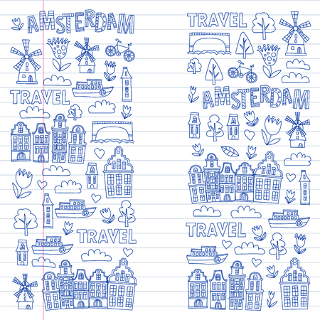 Vector pattern with Holland, Netherlands, Amsterdam icons. Doodle style Stock Illustratie