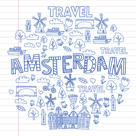 Vector pattern with Holland, Netherlands, Amsterdam icons. Doodle style 向量圖像