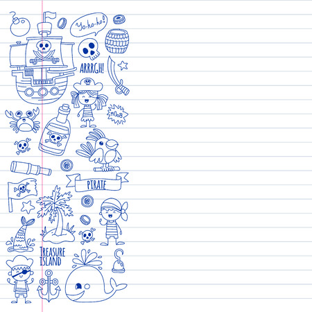 Vector pattern with pirate icons. Adventure, birthday party Illustration