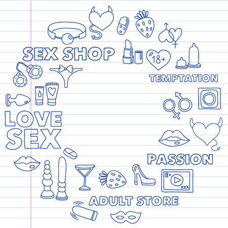 Vector set with sex shop icons. Erotic fetish games background. 向量圖像