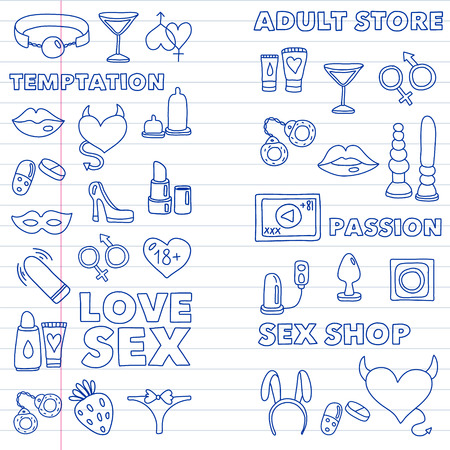 Vector set with sex shop icons. Erotic fetish games background. 스톡 콘텐츠 - 122555555
