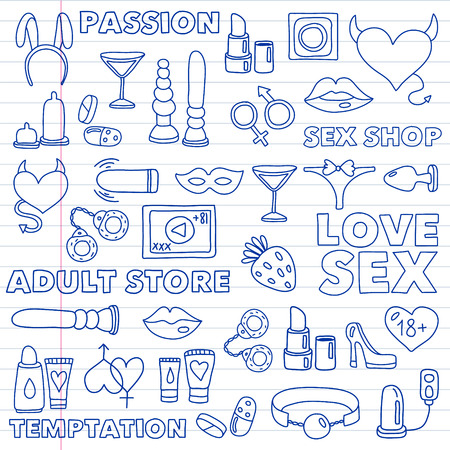 Vector set with sex shop icons. Erotic fetish games background. Illustration