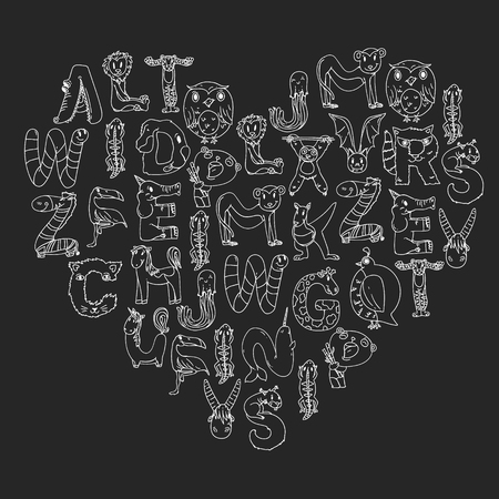 Animal alphabet. Letters from A to Z. Flamingo, giraffe, horse, alligator, bear cat dog elephant Stockfoto - 122786862