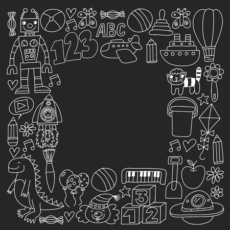 Vector pattern with children toys. Robot, rocket, horse dolls 스톡 콘텐츠 - 122786902