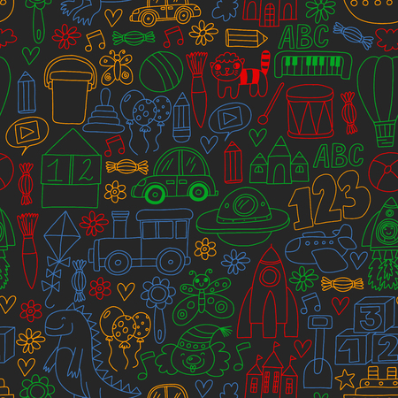 Vector pattern with children toys. Robot, rocket, horse dolls