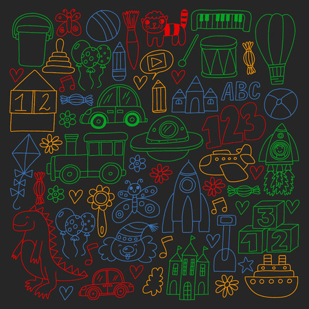 Vector pattern with children toys. Robot, rocket, horse, doll