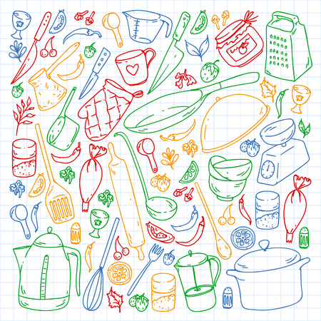 Cooking class. Kitchenware, utencils Food and kitchen icons