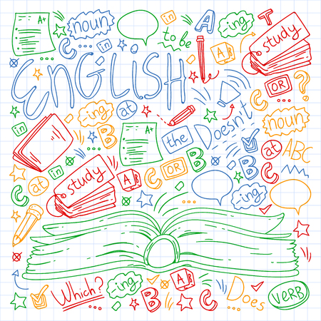 Language school for adult, kids. English courses class Vector Illustration