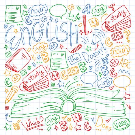 Szkoła językowa dla dorosłych, dzieci. Kursy języka angielskiego Ilustracje wektorowe