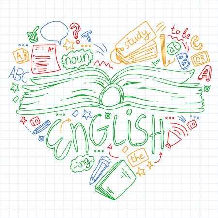 Scuola di lingue per adulti, bambini. Lezione di corsi di inglese Vettoriali