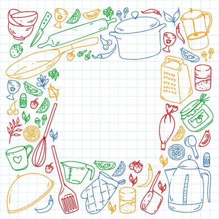 Cours de cuisine. Menu. Ustensiles de cuisine, ustensiles. Icônes de nourriture et de cuisine.