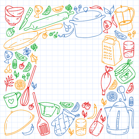 Cooking class. Menu. Kitchenware, utencils. Food and kitchen icons.