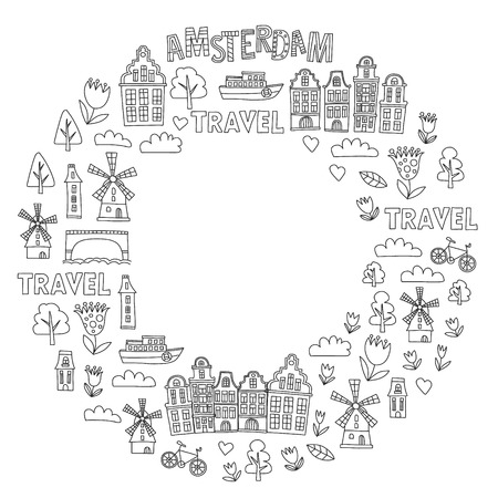 Vector pattern with Holland, Netherlands, Amsterdam icons. Doodle style 版權商用圖片 - 122671503