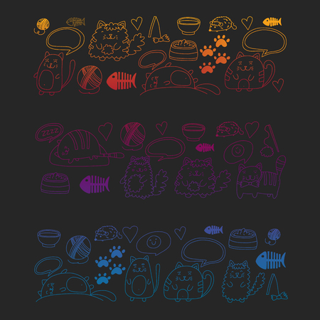 Vector pattern with cute little cats and kittens for children.
