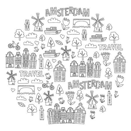 Reticolo di vettore con le icone di Olanda, Paesi Bassi, Amsterdam. Stile scarabocchio