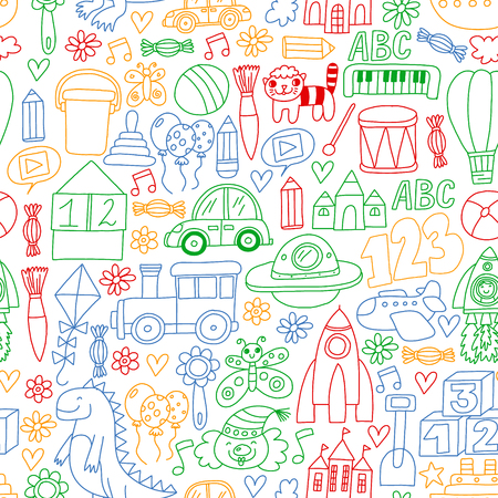 Modèle vectoriel avec jouets pour enfants. Robot, fusée, poupées de cheval