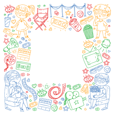 Vector pattern with cinema icons of movie theater, TV, popcorn, video clip Banque d'images - 122406023