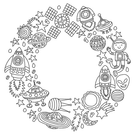 Vector pattern with space icons, planets, spaceships, stars, comets, rockets, space shuttle, flying saucers. Illustration