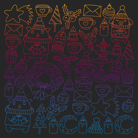 Winter Christmas vector pattern for wrapping paper with presents, cute cartoon animals. New year celebration