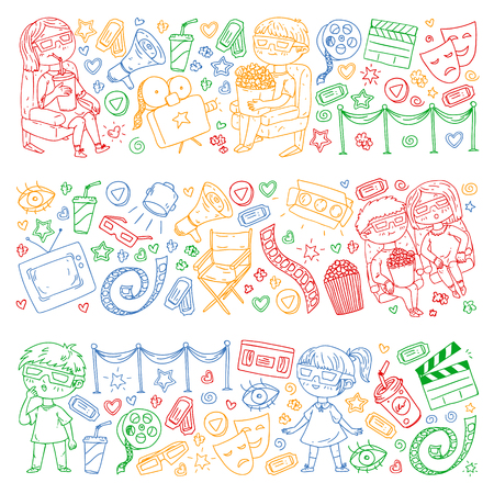 Vector pattern with cinema icons of movie theater, TV, popcorn, video clip Banque d'images - 122406033