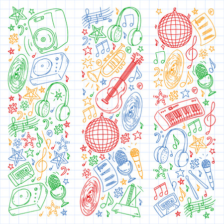 Musical pattern for posters, banners. Music festival, karaoke, disco, rock.
