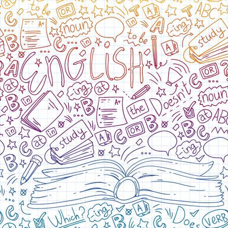 Language school for adult, kids. English courses class Vector Illustratie