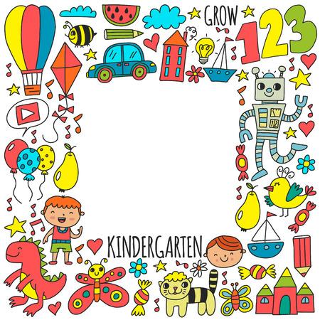 Bambini della scuola materna dell'asilo. Modello di vettore di stile di disegno dei bambini. Gioca crescere impara insieme.