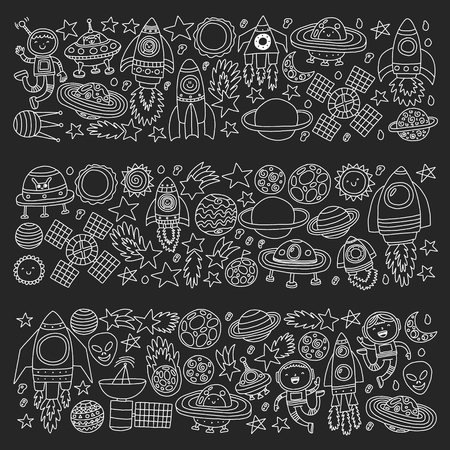 pattern with space icons, planets, spaceships, stars, comets, rockets, space shuttle, flying saucers.