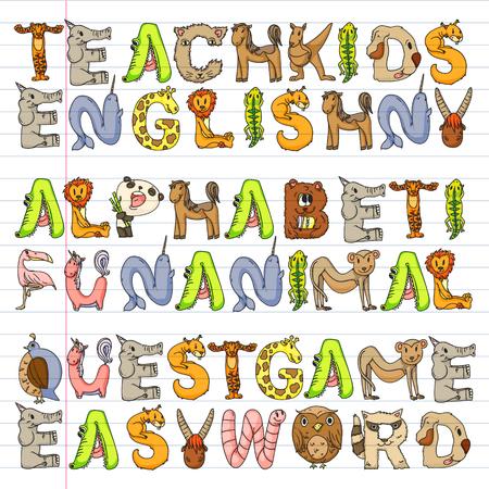 Animal alphabet. Zoo alphabet. Letters from A to Z. Cartoon cute animals. Elephant, dog, flamingo, giraffe, horse, alligator, bear, cat.