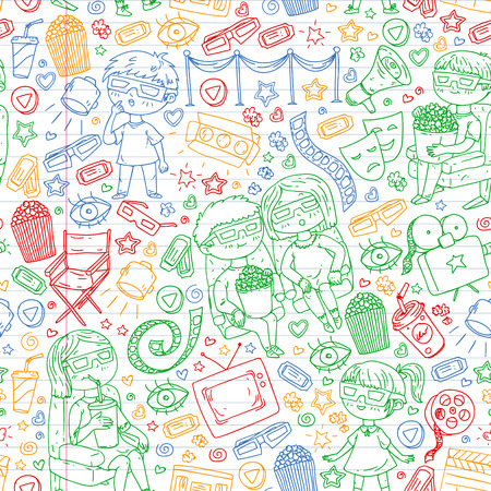 Vector pattern with cinema icons of movie theater, TV, popcorn, video clip Banque d'images - 123715249