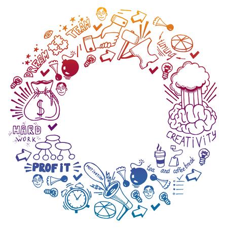Start up concept. pattern with motivational icons. Rocket, brainstorm, success, innovation