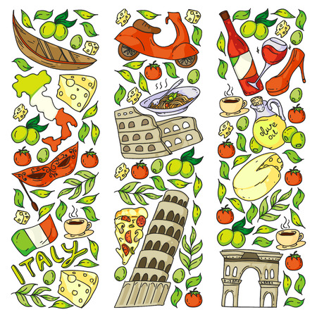 Italy vector elements and icons. Doodle pattern with italian culture, cities Roma, Venice, Milan, cheese, wine. Illustration
