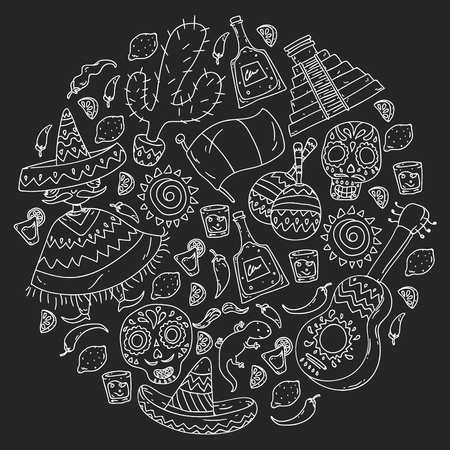 Travel to Mexico. Vector set with ethnic elemets for wallpapers, backgrounds. Day of the Dead Ilustrace