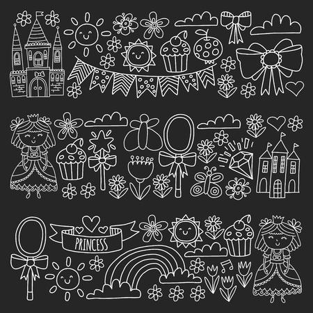 Vector pattern for little girls. Princess illustration for happy birthday party. Standard-Bild - 124966651