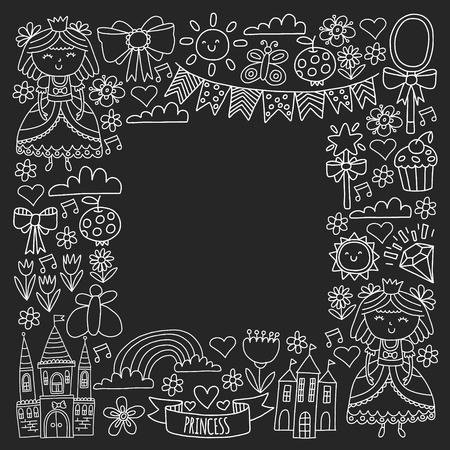 Vector pattern for little girls. Princess illustration for happy birthday party. Standard-Bild - 124966658