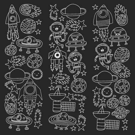 Vector pattern with space icons, planets, spaceships, stars, comets, rockets, space shuttle, flying saucers. Çizim