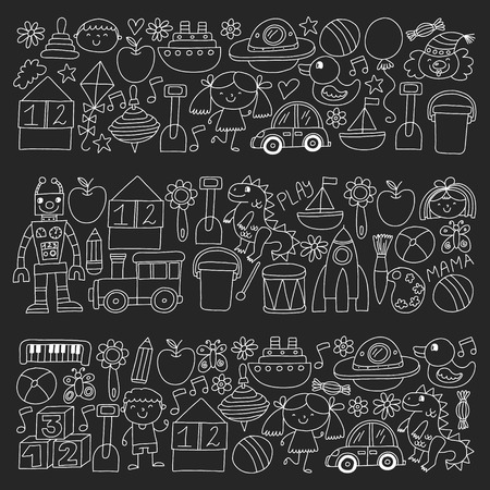Kindergarten preschool school children. Kids drawing style vector pattern. Play grow learn together.