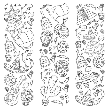 Travel to Mexico. Vector set with ethnic elemets for wallpapers, backgrounds. Day of the Dead Illustration
