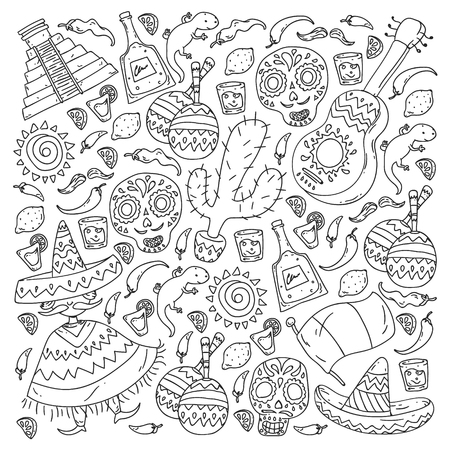 Travel to Mexico. Vector set with ethnic elemets for wallpapers, backgrounds. Day of the Dead Ilustracja