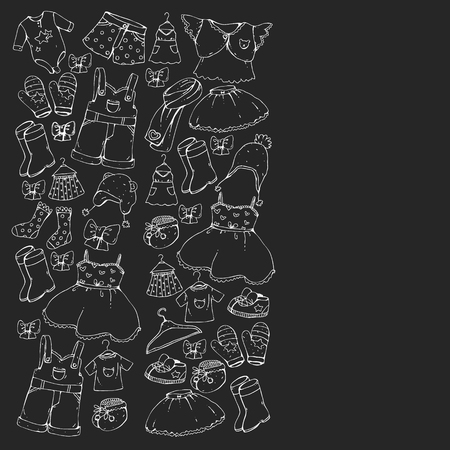 Children clothes. Background for babies, kids patterns.