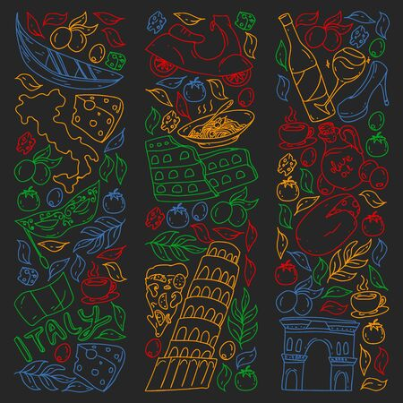 Italy vector elements and icons. Doodle pattern with italian culture, cities Roma, Venice, Milan, cheese, wine