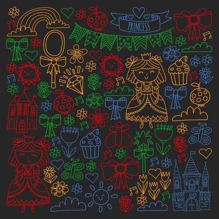 Vector pattern for little girls. Princess illustration for happy birthday party Standard-Bild - 124966997