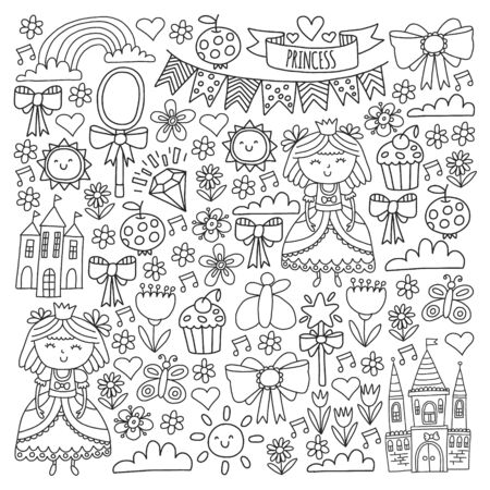 Vector pattern for little girls. Princess illustration for happy birthday party