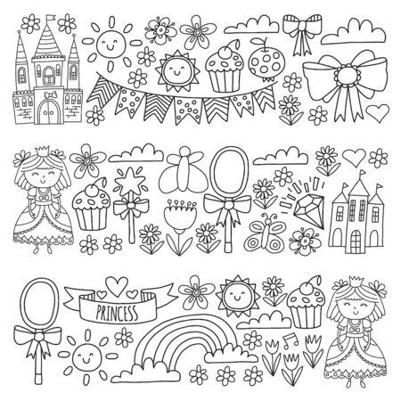 Vector pattern for little girls. Princess illustration for happy birthday party Standard-Bild - 124969569